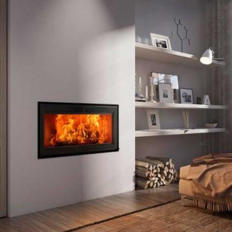 Llar de foc de llenya VISTA90 amb moderna porta de vidre